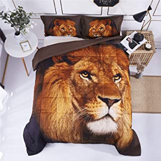 HIG 3D Bedding Set 3 Piece Queen Size Lion Head Animal Print Comforter Set with Two Matching Pillow Covers -Box Stitched Quilted Duvet -General for Men and Women Especially for Children (P27,Queen)