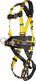 MSA 10077571 Workman Construction Harness with Back/Hip D-Rings, Tongue Buckle Leg Straps, Qwik-Fit Chest Strap Buckle, Integral Back Pad, Tool Belt and Shoulder Pads, Standard