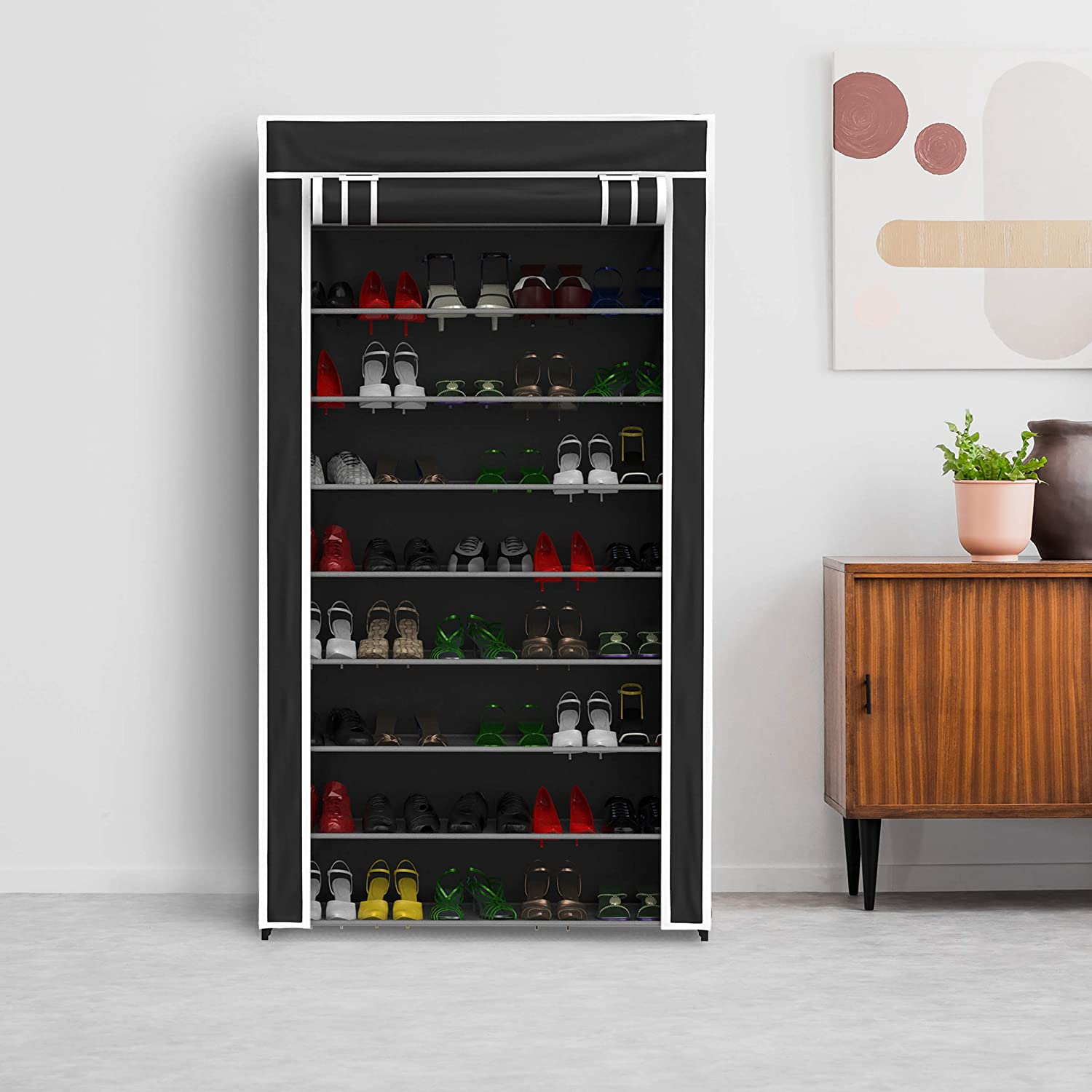Lavish Home Tiered shoes Rack with Dust Free Standing greenical Footwear Organizer with Dustproof, Non-Woven Fabric Cover and Metal Frame