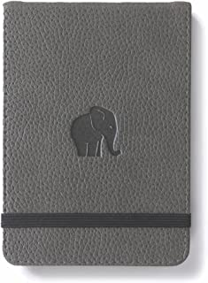 Dingbats Wildlife Squared Hardcover Notebook - PU Leather, Perforated 100gsm Ink-Proof Paper, Pocket, Elastic Closure, Pen Holder, Bookmark (Gray Elephant, Reporter A6+ (6.1 x 4.1))