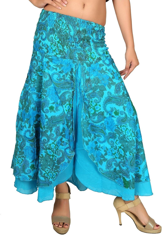 Sarjana Handicrafts Women's Cotton Floral Print Boho Hippie Skirt (Free Size, Sky Blue)