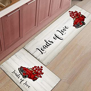 2 Piece Kitchen Mats Cushioned Anti Fatigue Valentines Day Red Truck Non Slip Heavy Duty Comfort Standing Mats Wooden Plan...