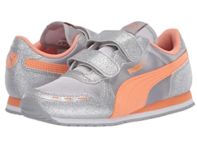 Puma Kids Cabana Racer Glitz V (Little Kid) (Silver/Cantaloupe/White) Girls Shoes