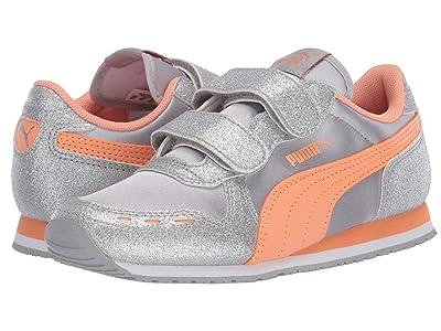 Puma Kids Cabana Racer Glitz V (Little Kid) (Silver/Cantaloupe/White) Girls Shoes