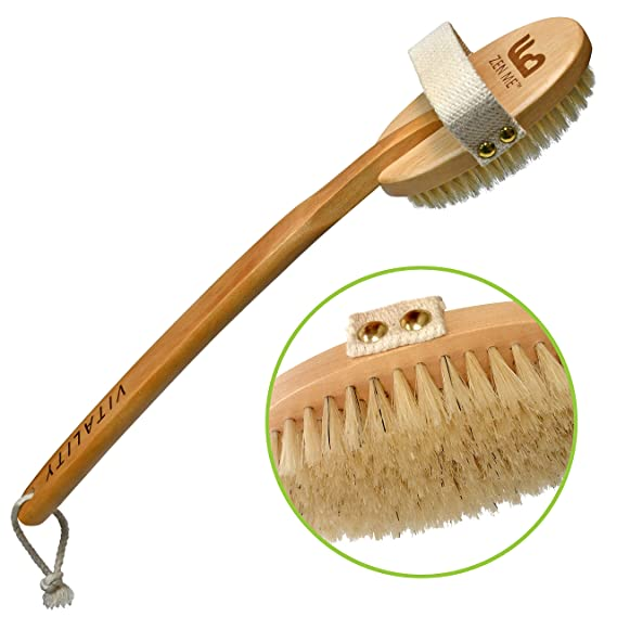 Premium Dry Brush for Cellulite and Lymphatic Massage for Glowing Tighter Skin – Plastic-Free Natural Bristle Body Brush with Detachable Long Handle to Easily Exfoliate Dry Skin