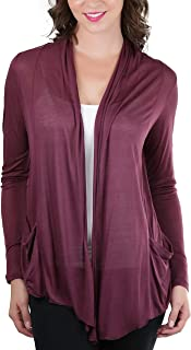 ToBeInStyle Women's Long Sleeve Flyway Cardigan with Side Pockets