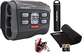 Bushnell Hybrid Golf Laser/GPS Rangefinder Bundle | Pinseeker w/Jolt, 1000 Yards, 5X Mag, Case | 201835 (+ PlayBetter Portable Charger, Microfiber Cleaning Towel & Extra CR2 Battery)