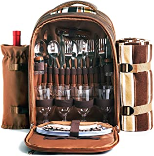 Picnic Backpack Bag for 4 Person With Cooler Compartment, Detachable Bottle/Wine Holder, Fleece Blanket, Plates and Cutlery Set Perfect for Outdoor, Sports, Hiking, Camping, BBQs(Coffee)
