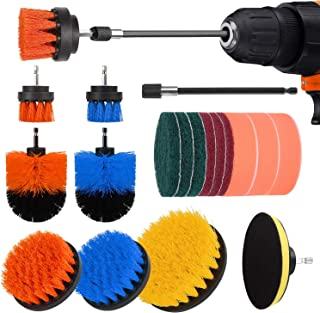 Drill Brush Attachment Set-19 Piece Power Scrubber Cleaning Kit for Kitchen and Bathroom Surfaces Tub, Grout, Tile, Sink, Carpet, Wheel, Corner and Boat