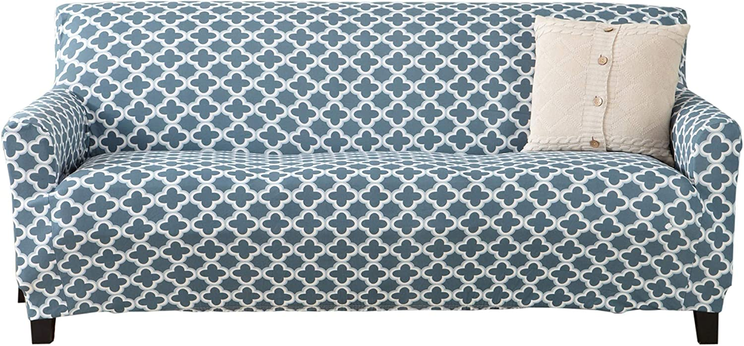 Printed Twill Sofa Slipcover. One Piece Stretch Couch Cover. Strapless Sofa Cover for Living Room. Fallon Collection Slipcover. (Sofa, Smoke Blue)