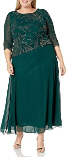 J Kara Plus Size Womens Sheer Sleeve Floral Beaded Long Dress