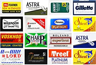 100 Excellent Quality Double Edge Razor Blades Sampler (16 different brands)