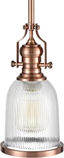 WILDSOUL 20061AC Contemporary Classic Ribbed Glass Pendant Light, LED Compatible Vintage Modern Farmhouse Kitchen Ceiling Lighting Fixture with Bulb, Sloped Ceiling Adapter, Stem-Mount, Antique Copper