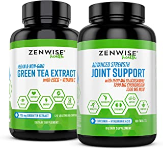 Zenwise Energy & Mobility Boost Bundle - Joint Support + Green Tea Extract – Features MSM Glucosamine & Chondroitin for Ex...