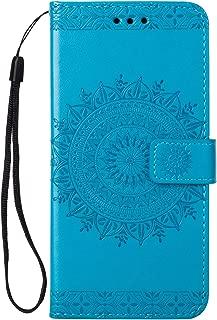 LG Zone 4 Case,LG Aristo 2/3, LG Phoenix 4,LG Tribute Empire/Dynasty SP200,LG Fortune 2,LG Risio 3,LG K8 (2018) Case, Folice Mandala Flower Pattern PU Leather Kickstand Wallet Cover (Blue)