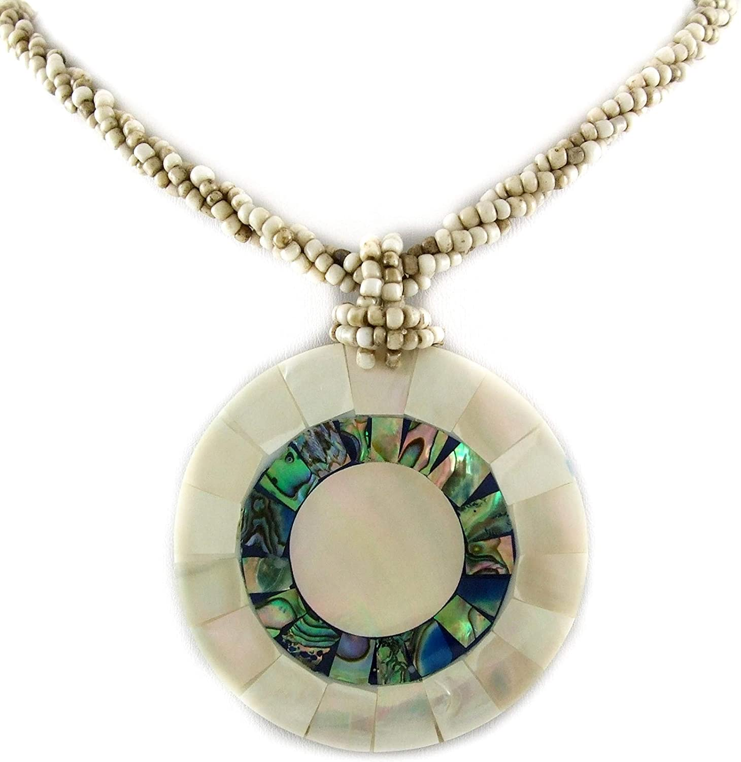 Natural Abalone Shell, Mother of Pearl Pendant 19 Inches Beads necklace Handmade Jewelry AA192