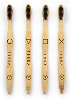 Terrabrush Adult Bamboo Toothbrushes Pack of Four Soft