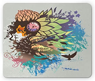 Curly Hair Mouse Pad, Psychedelic Woman with Primitive Shaman Lady with Paintbrush Graphic Effects, Standard Size Rectangle Non-Slip Rubber Mousepad, 9.8 X 11.8 Inch