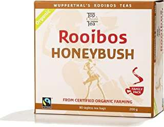 Honeybush Rooibos Tea Organic FAIR TRADE South African Red Bush & Honeybush Tea Bags - 80 count - Imported Natural Caffeine Free, Sweet Tasting, Antioxidant & Mineral Rich, Healthy Herbal Tea. USDA Certified 100% Organic, Fairtrade, Wupperthal Rooibos (NOT plantation grown).