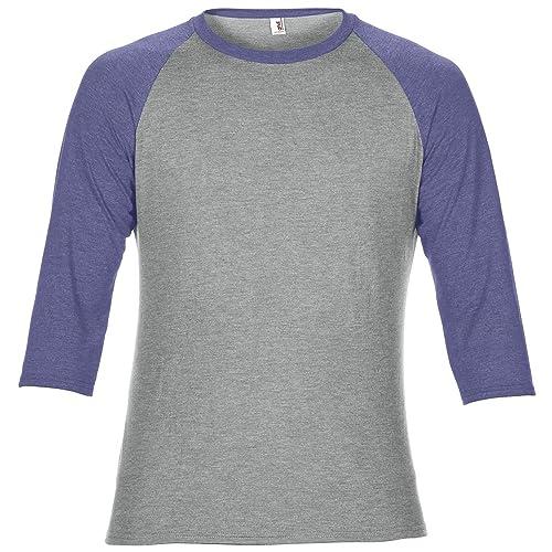 e636eb703b0d Anvil Unisex Two Tone Tri-Blend 3/4 Sleeve Raglan T-Shirt