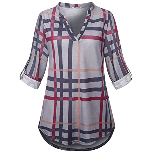 2caffa5b9059b SeSe Code Womens 3 4 Roll Sleeve Shirt Notch Neck Loose Tops Plaid Tunic  Blouse