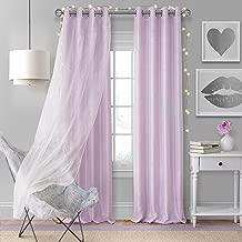 Elrene Home Fashions Aurora Single Solid with Sheer Overlay Room Darkening Window Curtain Panel, 52