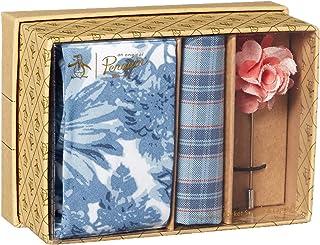 Original Penguin 男式 3 件套花卉领带,口袋方形和翻领别针盒,蓝色,均码