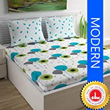 Divine Casa 100% Cotton Double Bedsheet with 2 Pillow Covers, Turquoise and Lime Green - Floral