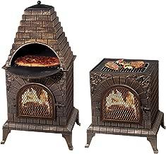 Deeco DM-0039-IA-C Aztec Allure Cast Iron Pizza Oven Chiminea