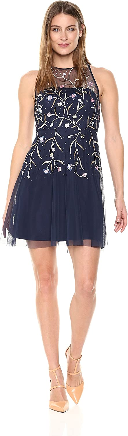 Aidan Mattox Womens Beaded Cocktail Party Dress Special Occasion Dress