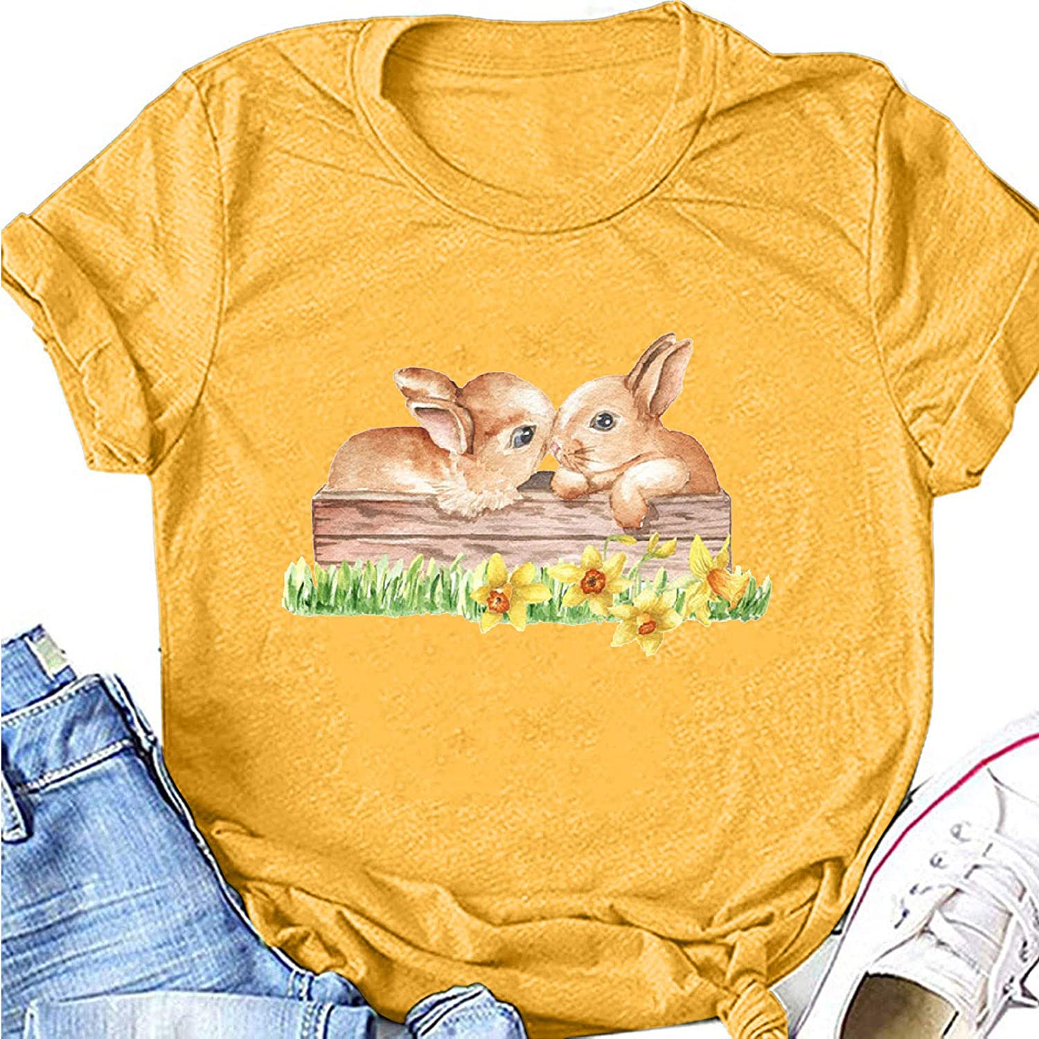 Short Sleeve Easter Shirts for Women,Casual Funny Easter Bunny Printed Short Sleeve Shirts Pullover Tops