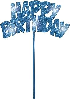 Unique Party Flashing Birthday Cake Decoration - Blue