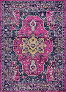 Ladole Rugs Timeless Collection Beverly Pink Purple Traditional Outdoor Polypropylene Flat Pile Area Rug Carpet, 4x5 (3'11