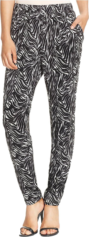 HUE Women's Relaxed Jersey Elastic Zebra Leggings Black Med