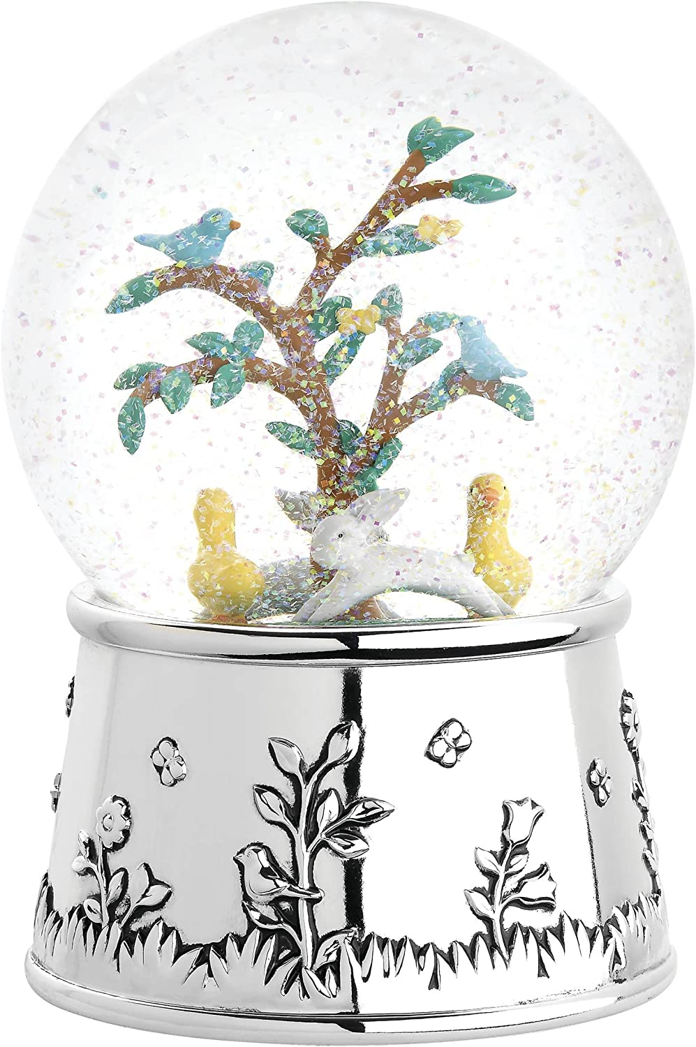 Reed & Barton Quilted Rabbit Musical Snowglobe
