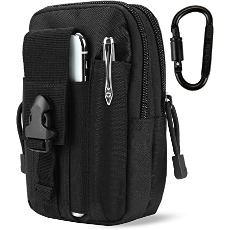 Azarxis 6.5 Mobile Phone Pouch Holster Purse Case Cell Phone Tactical Utility Waist Bag with Card Slots EDC Military Molle System for iPhone Samsung Huawei under 6.5 in