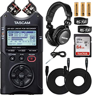 Tascam DR-40X Four-Track Digital Audio Recorder and USB Audio Interface Bundle with Tascam TH-02 Studio Headphones and San...