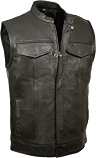 SOA Men's Basic Leather Motorcycle Vest w/ 2 Inside Gun Pockets Collared & No Collar versions (X-Large, With Collar)