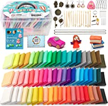 HOLICOLOR 62 Colors (1.4 Ounce Per Pack) Polymer Clay Kit Includes Extra 1 White and 1 Black Oven Bake Clay with Accessories Sets and 14 Sculpting Tools, Manual Book, Magic Modeling Clay kit