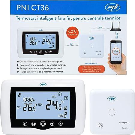 Termostato inteligente PNI CT36 inalámbrico, con WiFi, control por Internet, para centrales térmicas, APP TuyaSmart