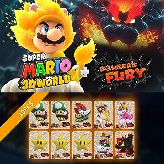 Para cartas de jogo Super Mario 3D World + Bowser's Fury NFC, pacote com 10 mini cartões NFC Amiibo