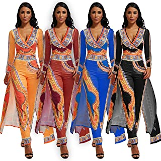 MENCCINO Jumpsuit for Women Elegant African Printed Skirts Overlay Long Romper Pants Suit