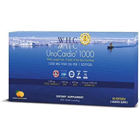 WHC - UnoCardio 1000 (60 Softgels) - 1300 mg of Pure Triglyceride Fish Oil with high Concentration Omega-3 (1180 mg),665 mg EPA and 445 mg DHA and 25 mcg (1000 IU) Vitamin D3 per softgel