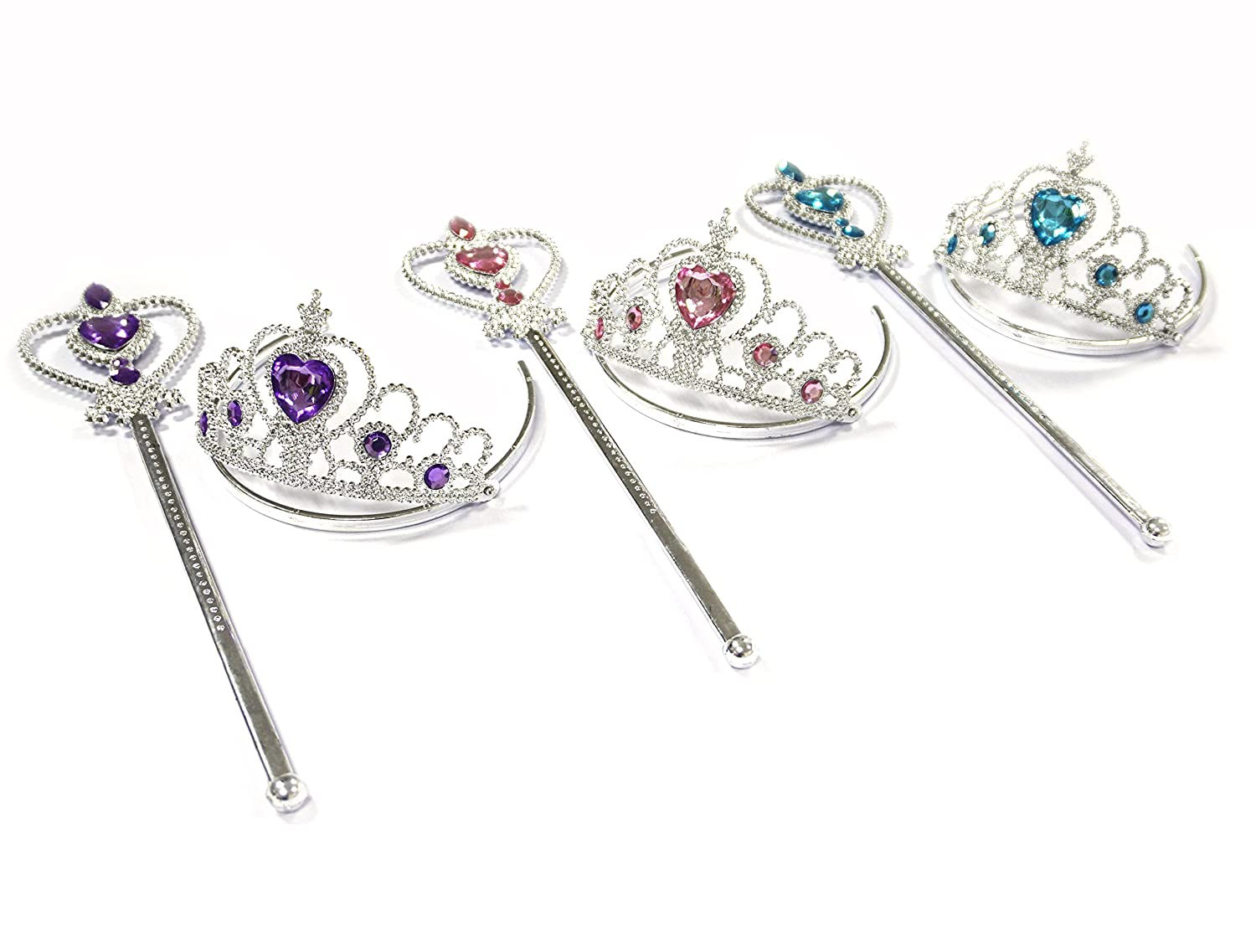 Silver Fairy Princess Blue Sparkle Crown with Crown Jewel Wands Costume 2PC Set