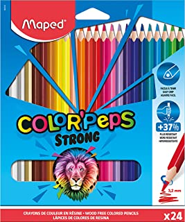 Maped Strong Color'Peps Colouring Pencils - 24 Ultra-Resistant and Ergonomic Colouring Pencils - Pack of 24 Pencils