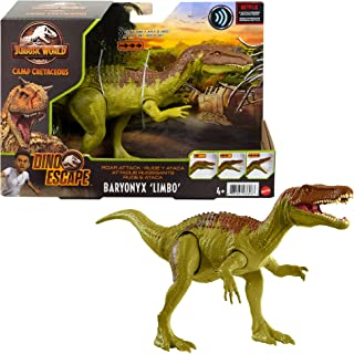 Jurassic World Roar Attack Baryonyx Limbo Camp Cretaceous Dinosaur Figure with Movable Joints, Realistic Sculpting, Strike...