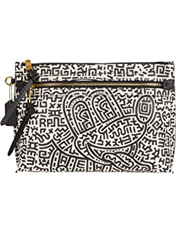 COACH Disney X Keith Haring Academy Pouch in Mickey Print,Black/White
