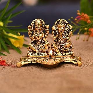 Collectible India Metal Laxmi Ganesh Idol Showpiece Oil Lamp Diya, 5.5 x 4.5x4 Inches, Golden