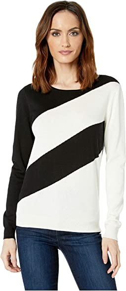 Long Sleeve Ribbed Cuff Asymmetrical Stripe Sweater