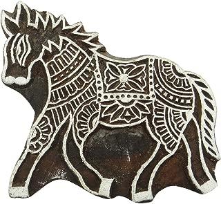 Handcarved Horse Brown Printing Block Indian Wooden Stamp Scrapbook Textile Stamp
